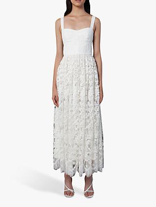 French Connection Eliza Lace Fit and Flare Wedding Dress, Summer White