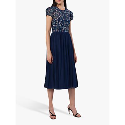 French Connection Diya Lace Embellished Floral Dress, Deep Cobalt