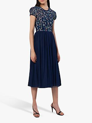 French Connection Diya Lace Embellished Floral Dress, Deep Cobalt