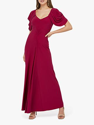 Monsoon Cynthia Ruched Sleeve Maxi Dress, Pink