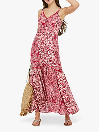 Monsoon Sunita Floral Print Maxi Dress, Pink