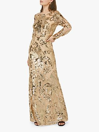 Monsoon Lily Sequin Embellished Floral Print Maxi Dress, Gold