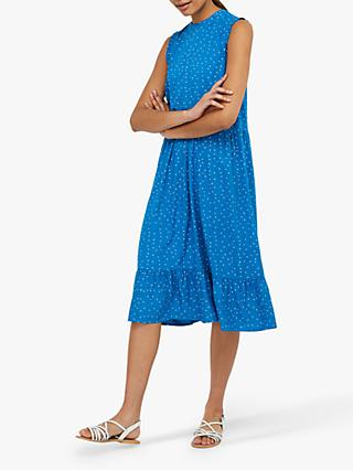Monsoon Tilda Spot Print Tiered Midi Dress, Blue