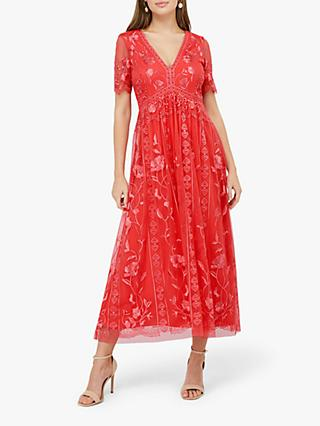 Monsoon Valentina Embroidered Midi Dress, Coral