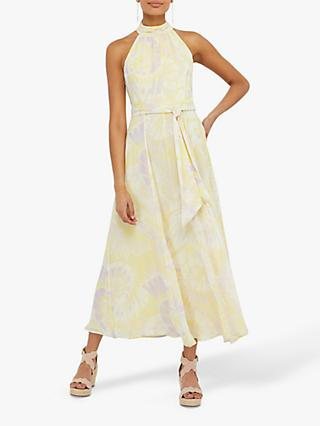 Monsoon Tori Tie Dye Halter Neck Maxi Dress, Yellow