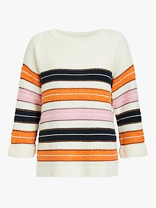 Barbour Newhaven Textured Stripe Jumper, Sunstone Orange