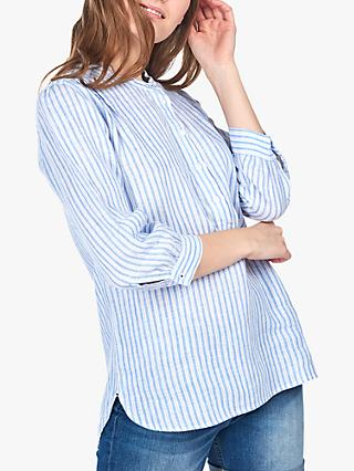 Barbour Dover Stripe Linen Shirt, Blue/White