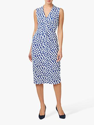 Hobbs Denisa Cubic Print Twist Dress, Kingfisher/Ivory