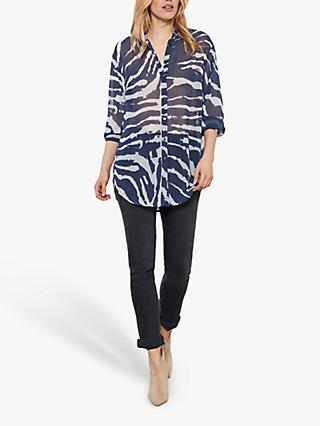 Mint Velvet Mara Zebra Shirt, Dark Blue