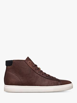 CLAE Bradley Leather High Top Trainers, Cocoa