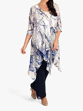 Chesca Satin Devoree Abstract Pixie Hem Coat, White/Cobalt