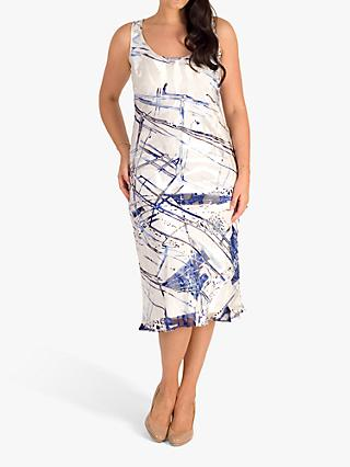 chesca Satin Devoree Abstract Stripe Sleeveless Dress, Ivory/Cobalt