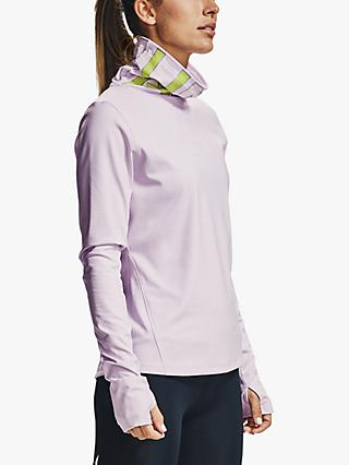 Under Armour Qualifier Ignight ColdGear® Funnel Neck Running Top, Crystal Lilac/Green Citrine