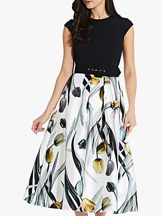 Adrianna Papell Mikado Flared Midi Dress, Yellow/Multi