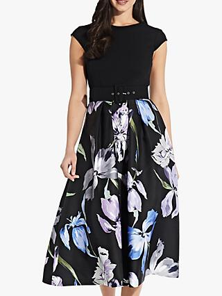 Adrianna Papell Floral Flared Midi Dress, Black/Multi
