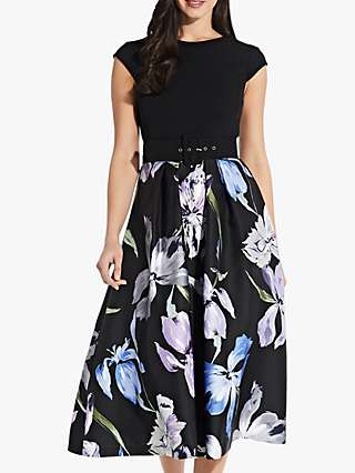 Adrianna Papell Floral Flared Midi Dress, Black/Multi