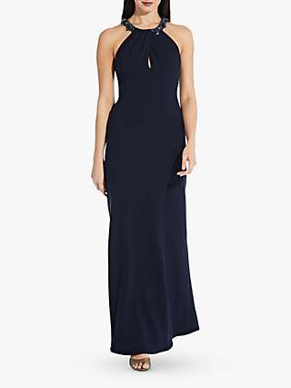 Adrianna Papell Halter Neck Crepe Dress, Midnight