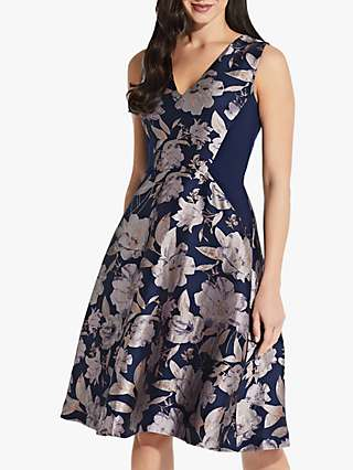 Adrianna Papell Jacquard Floral Print Knee Length Dress, Navy/Blush