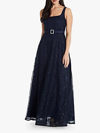 Adrianna Papell Beaded Flared Gown, Navy