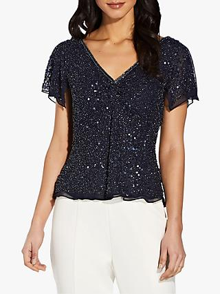 Adrianna Papell Dazzling V-Neck Top, Midnight