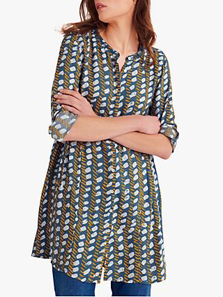 White Stuff Ruby Abstract Print Tunic Top, Denim Blue Print