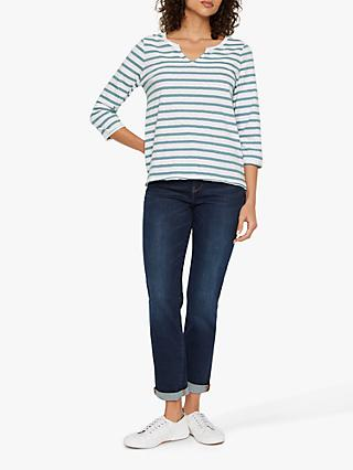 White Stuff Daisy Stripe Jersey T-Shirt, Pottery Blue