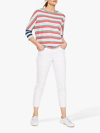 White Stuff Dolman Contrast Sleeve Large Striped Jersey Tee, Hot Pink Stripe
