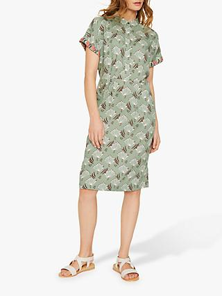White Stuff Alba Peacock Print Shirt Dress, Soft Bottle Green