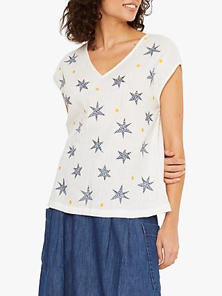 White Stuff Wild Fly Star Embroidered Crinkle Top, White/Multi