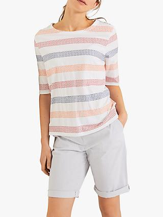 White Stuff Weekend Stripe Jersey T-Shirt, Salmon Pink/Multi
