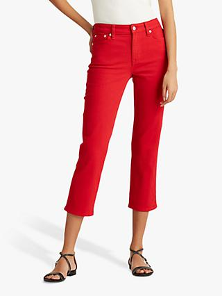 Lauren Ralph Lauren Cropped 5 Pocket Jeans, Bold Red Wash