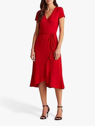 Lauren Ralph Lauren Entiama Tie Belt Casual Dress, Orient Red