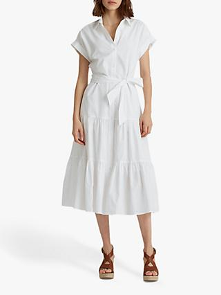 Lauren Ralph Lauren Vilma Sleeveless Tiered Shirt Dress, White