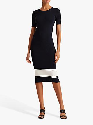 Lauren Ralph Lauren Daley Short Sleeve Striped Dress, Lauren Navy/White
