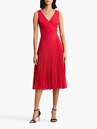 Lauren Ralph Lauren Rayella Sleeveless Pleated Day Dress, Orient Red
