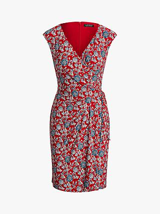 Lauren Ralph Lauren Saida Cap Sleeve Dress, Red/Multi