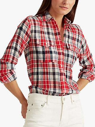 Lauren Ralph Lauren Courtenay Check Shirt, Red/Multi