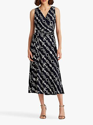 Lauren Ralph Lauren Carlyna Sleeveless Chain Print Midi Dress, Lighthouse Navy/Colonial Cream
