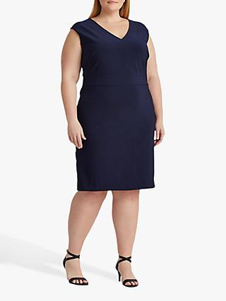 Lauren Ralph Lauren Curve Janette Capped Sleeve Dress, Lighthouse Navy