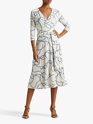 Lauren Ralph Lauren Carlyna Chain Print Midi Dress, Cream/Sapphire
