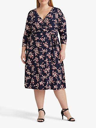 Lauren Ralph Lauren Curve Carlyna Floral Print Wrap Dress, Navy/Red