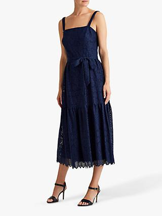 Lauren Ralph Lauren Maxwell Floral Lace Midi Dress, Lighthouse Navy
