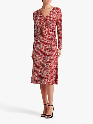 Lauren Ralph Lauren Coreen Long Sleeved Abstract Graphic Print Wrap Dress, Red/Cream