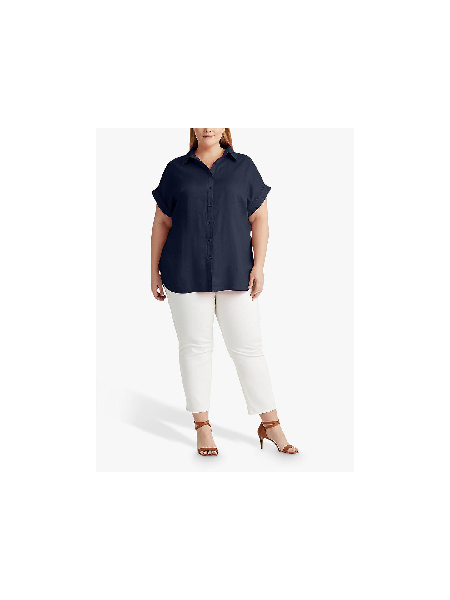 Buy Lauren Ralph Lauren Curve Broono Short Sleeve Linen Shirt, Lauren Navy, XL Online at johnlewis.com