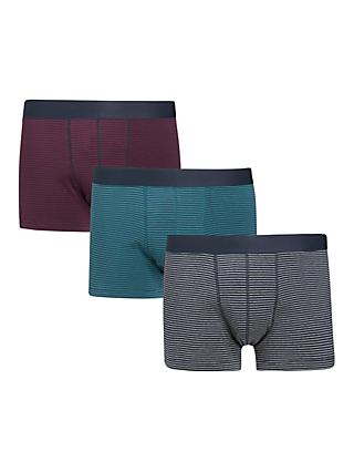 John Lewis & Partners Organic Cotton Micro Stripe Trunks, Pack of 3, Multi