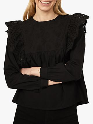 Warehouse Embroidered Frill Sleeve Top, Black