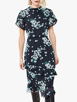 Oasis Dandelion Print Midi Dress, Blue/Multi