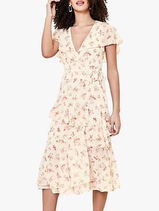 Oasis Ditsy Floral Print Ruffle Midi Dress, Natural