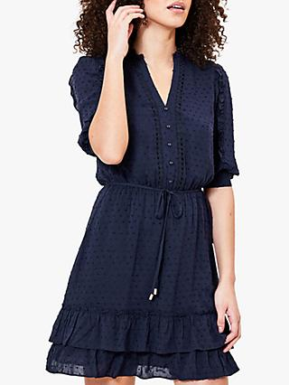 Oasis Dobby Spot Lace Dress, Navy