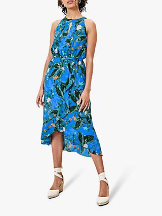 Oasis Halterneck Floral Dress, Multi Blue